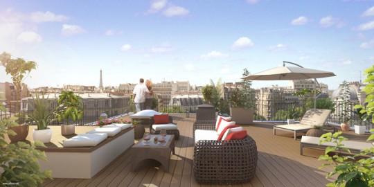 Pereire 17, appartement avec terrasse plein ciel