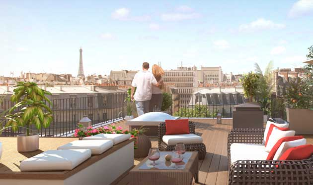 pereire 17 vue sur paris depuis la terrasse. Black Bedroom Furniture Sets. Home Design Ideas