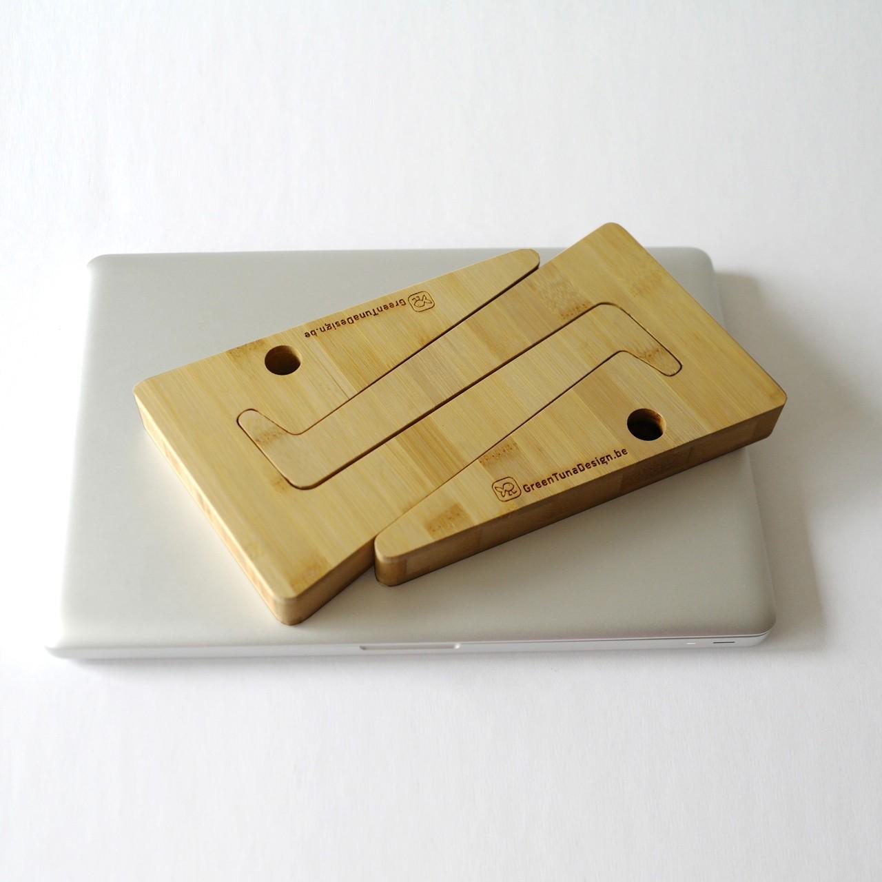 Support pour ordinateur portable en bambou plié