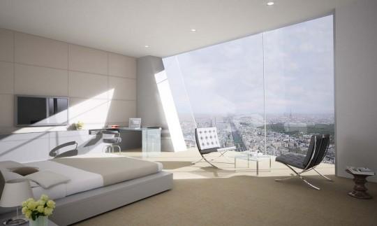 Tour Hermitage de La Défense : Chambre avec vue panoramique sur Paris