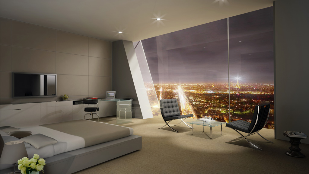 Tour hermitage dans un chambre avec vue sur la tour eiffel - Appartement luxe paris avec design sophistique et elegant ...
