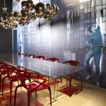 Table en verre Astrolab et chaises Ava bridge, collection Roche Bobois 2012