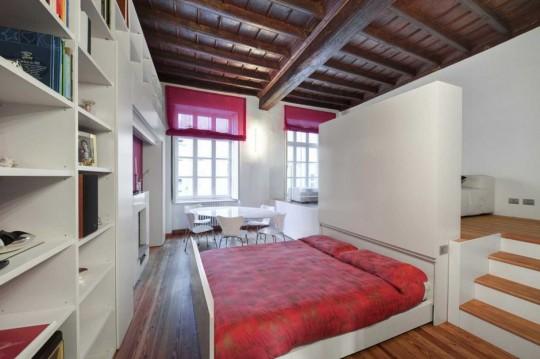 Petit appartement avec un lit tiroir escamotable