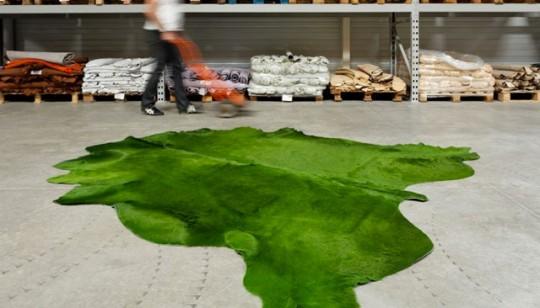 Tapis en cuir vert Primo par Constant Bourgeois
