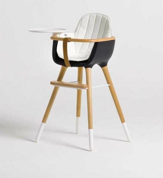 chaise haute pour enfant micuna ovo noire avec coussin blanc. Black Bedroom Furniture Sets. Home Design Ideas