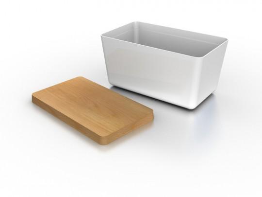 Boite à pain design blanche + bois Joseph Joseph