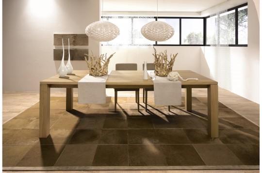 Table en bois massif (chêne naturel) rectangle avec rallonges Hülsta ET 1400