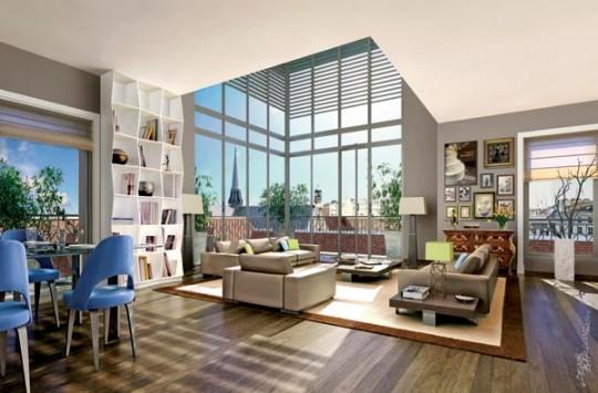 Salon double hauteur dans la résidence Paris 7 Rive Gauche