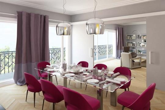 Salle à manger d'un appartement de la résidence Paris 7 Rive Gauche
