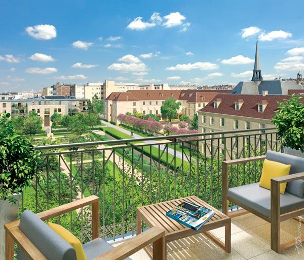 Paris 7 rive gauche terrasse avec vue sur le jardin for Vue sur terrasse
