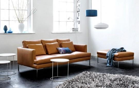 Canapé 3 places en cuir brun Istra BoConcept