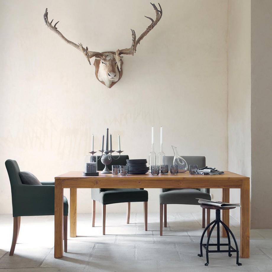 maisons du monde table manger rectangle en teck massif. Black Bedroom Furniture Sets. Home Design Ideas