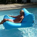 Pouf de piscine bleu
