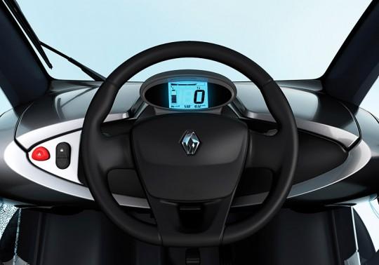 Intérieur de la voiture électrique Renault Twizy