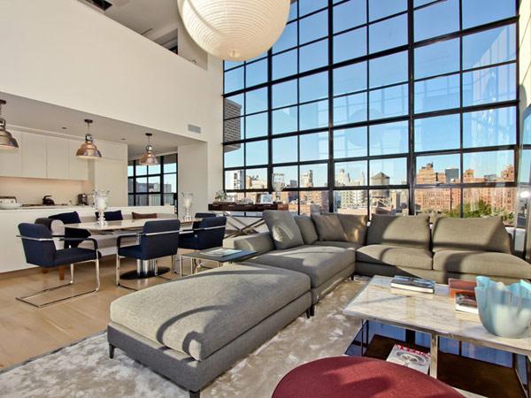magnifique penthouse avec s jour cath drale avec vue sur new york. Black Bedroom Furniture Sets. Home Design Ideas