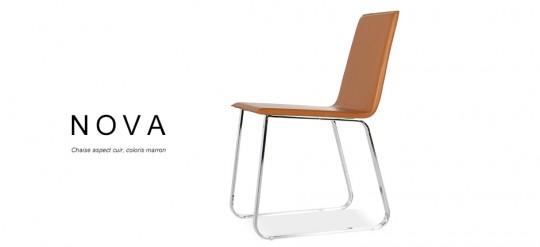 NOVA, chaise aspect cuir design pas chère