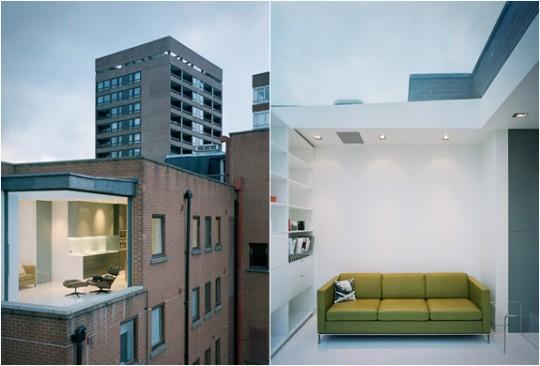 Un appartement unique à Soho avec une pièce en verre