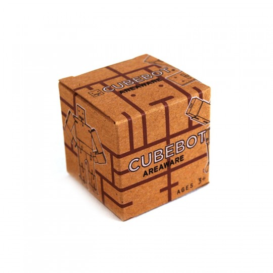 Robot en bois Cubebot dans sa boite en carton
