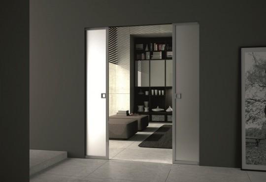 Porte coulissante en verre et aluminium Syntesis