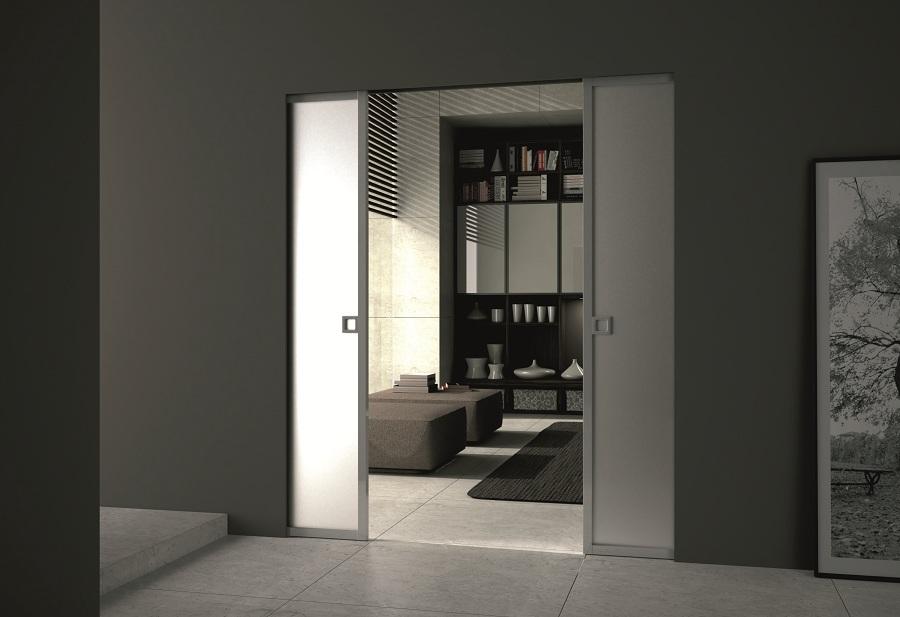 porte coulissante en verre et aluminium syntesis. Black Bedroom Furniture Sets. Home Design Ideas
