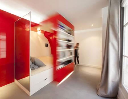 Red nest, petit appartement design à Paris