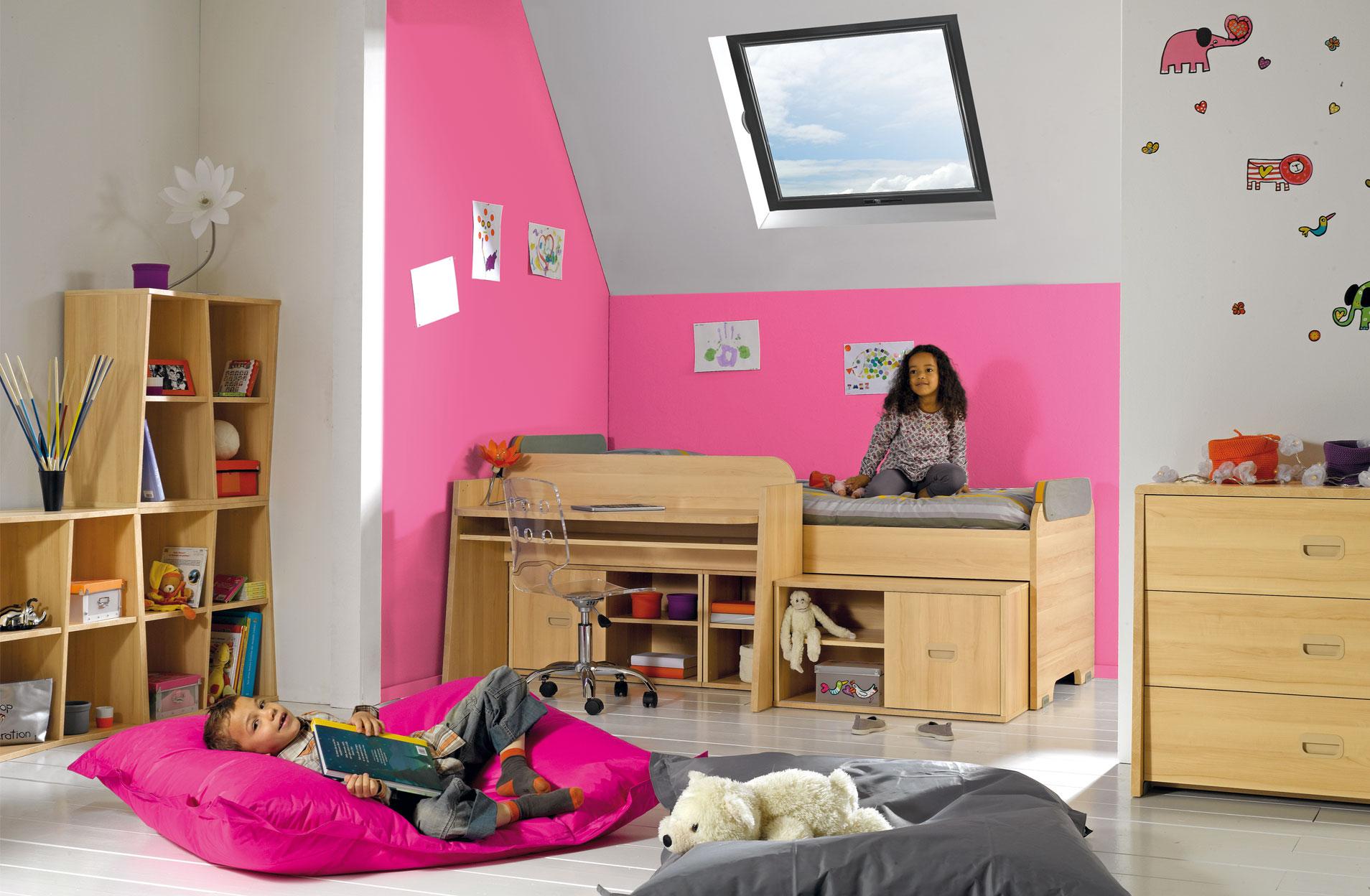 inspiration d co un bureau en sous pente gautier bebop. Black Bedroom Furniture Sets. Home Design Ideas
