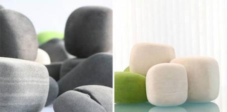 Felt rocks, coussins en forme de pierre
