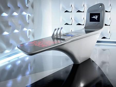 cuisine du futur en corian. Black Bedroom Furniture Sets. Home Design Ideas