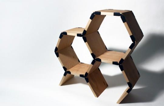 Diy fabriquer une tag re en bois design avec hexa shelf - Fabriquer une etagere en bois rangement ...