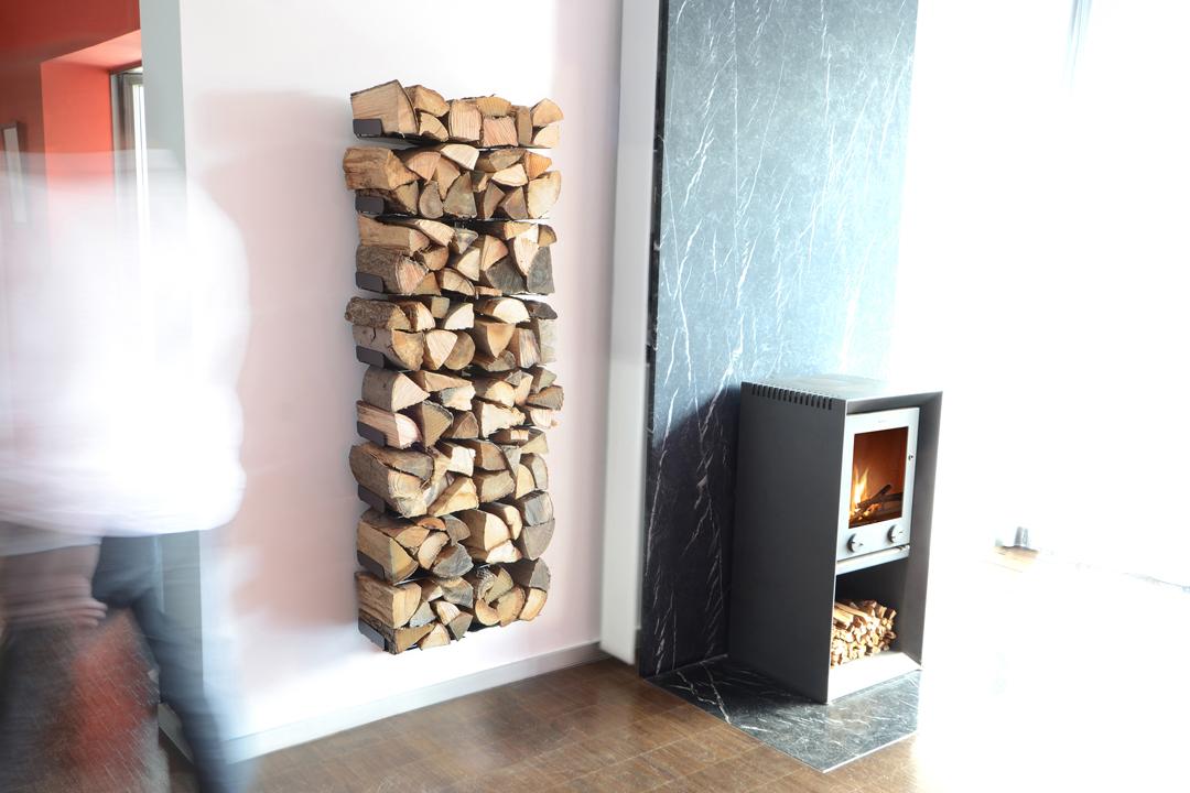 Range bûches de bois mural à fixations invisibles Radius
