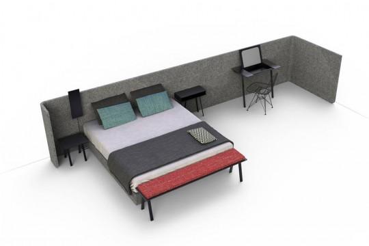 Lit avec tête de lit paravent extensible Area