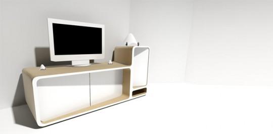 meuble tv design en bois et corian arthuro delphine maumot. Black Bedroom Furniture Sets. Home Design Ideas
