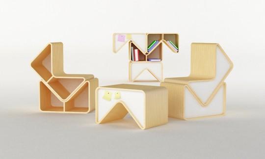 Chaise, table et bibliothèque modulaires Pacman | Cho Hyung Suk