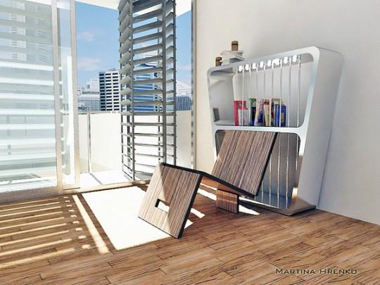 Self chair | Bibliothèque avec chaise pliante intégrée