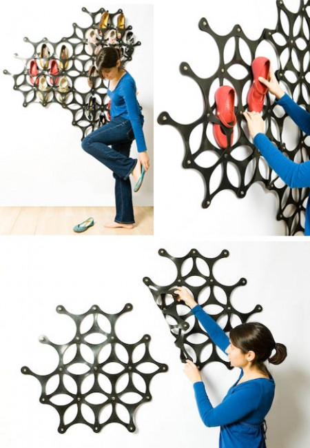 Sole mate, range-chaussures mural à ventouses