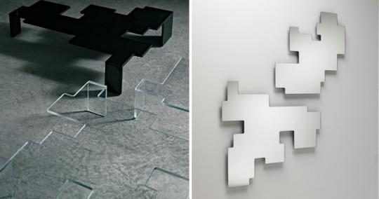 Miroir et table basse Space Invaders