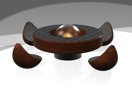 Orbital, table basse avec cheminée biologique intégrée