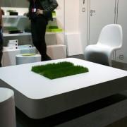 Table basse avec de l'herbe Racine Carré