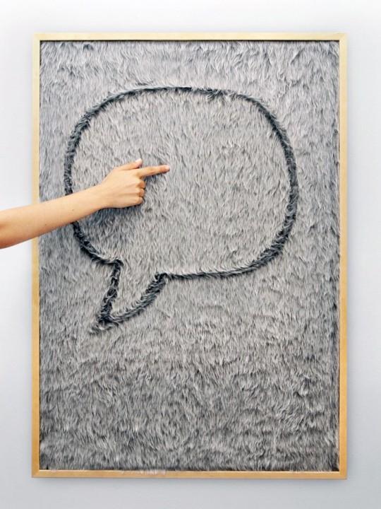 tableau message en fourrure dedo by gon alo campos. Black Bedroom Furniture Sets. Home Design Ideas
