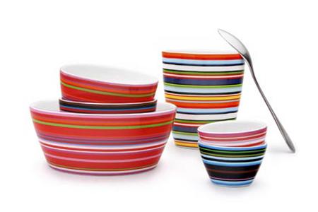 Vaisselle design à rayures