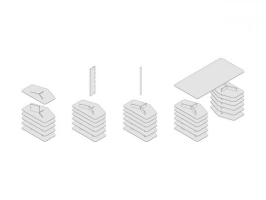 Bureau design Strates System : Plan de montage