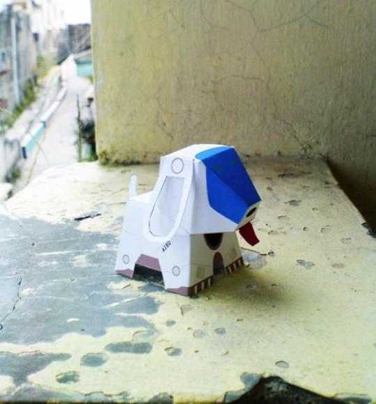 Pliage : Le robot chien Aibo en Paper toy