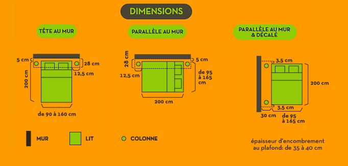 Plan et dimensions du lit escamotable lectrique libao - Lit escamotable electrique ...