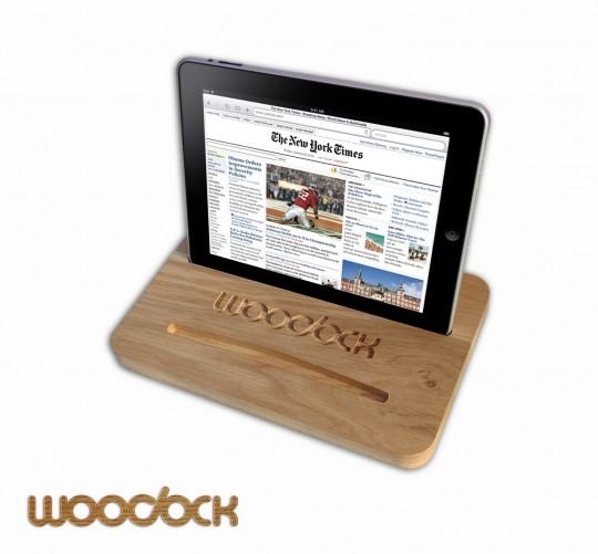 Dock iPad en chêne Woodock