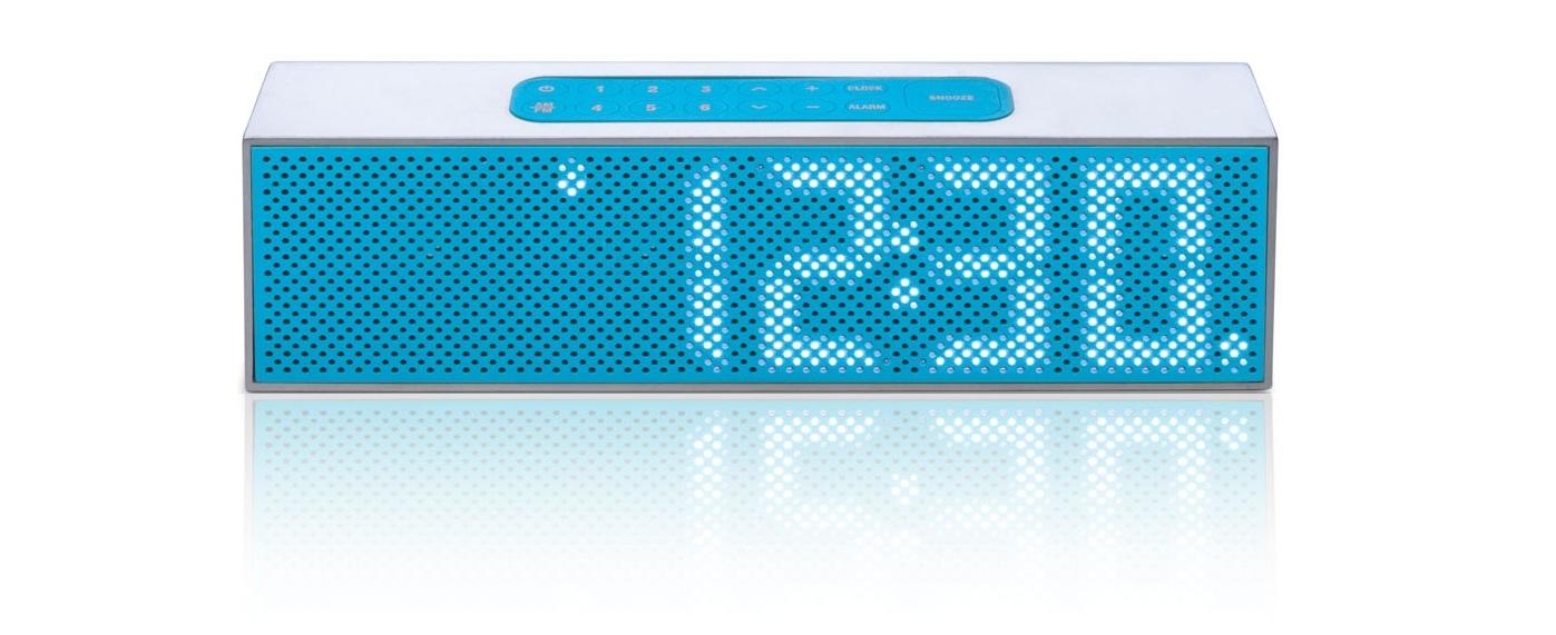 radio r veil blanc avec clairage bleu lexon titanium la84. Black Bedroom Furniture Sets. Home Design Ideas
