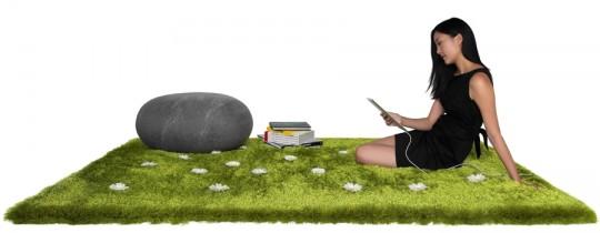 Tapis interactif avec de l'herbe et des fleurs Daisy Garden