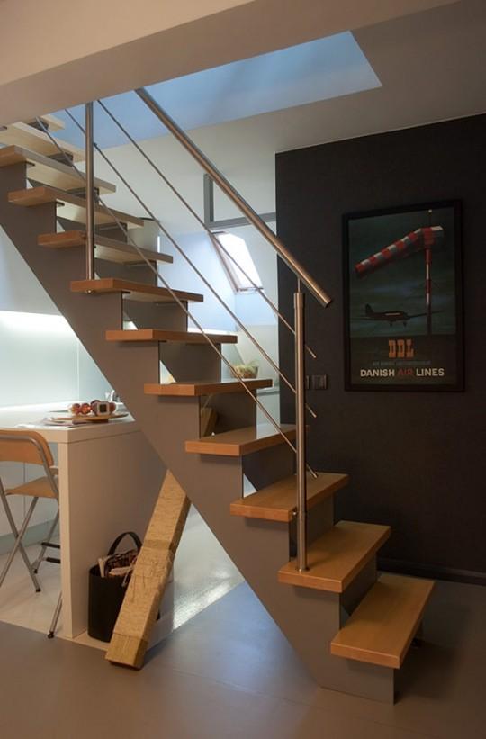 Escalier en bois et métal contemporain