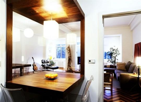 Cuisine moderne blanche + bois massif
