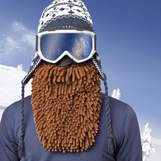 Masque de ski avec une barbe rasta marron