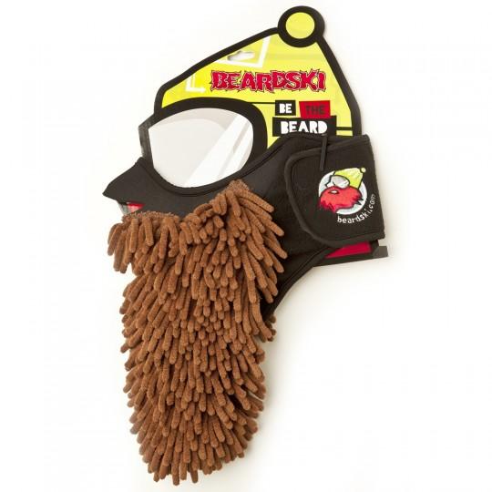 Beardski : Masque de ski avec une barbe rasta marron